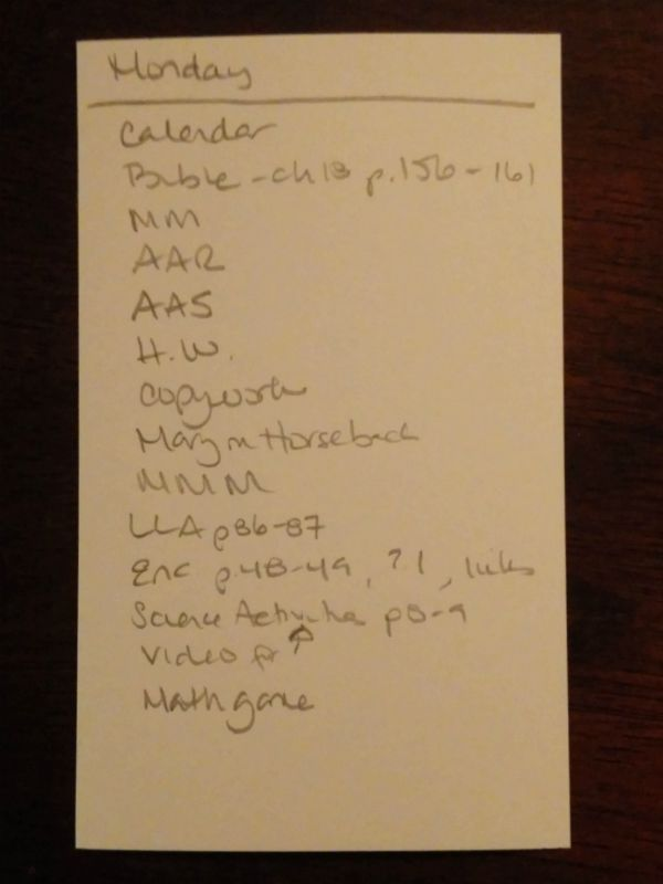 Daily checklist September 2015