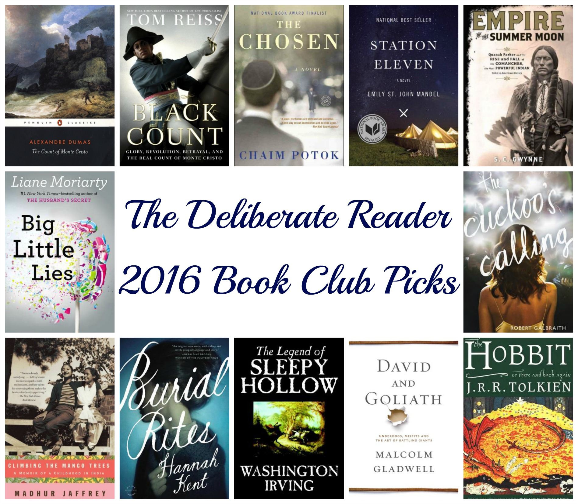 The Deliberate Reader 2016 Book Club Picks