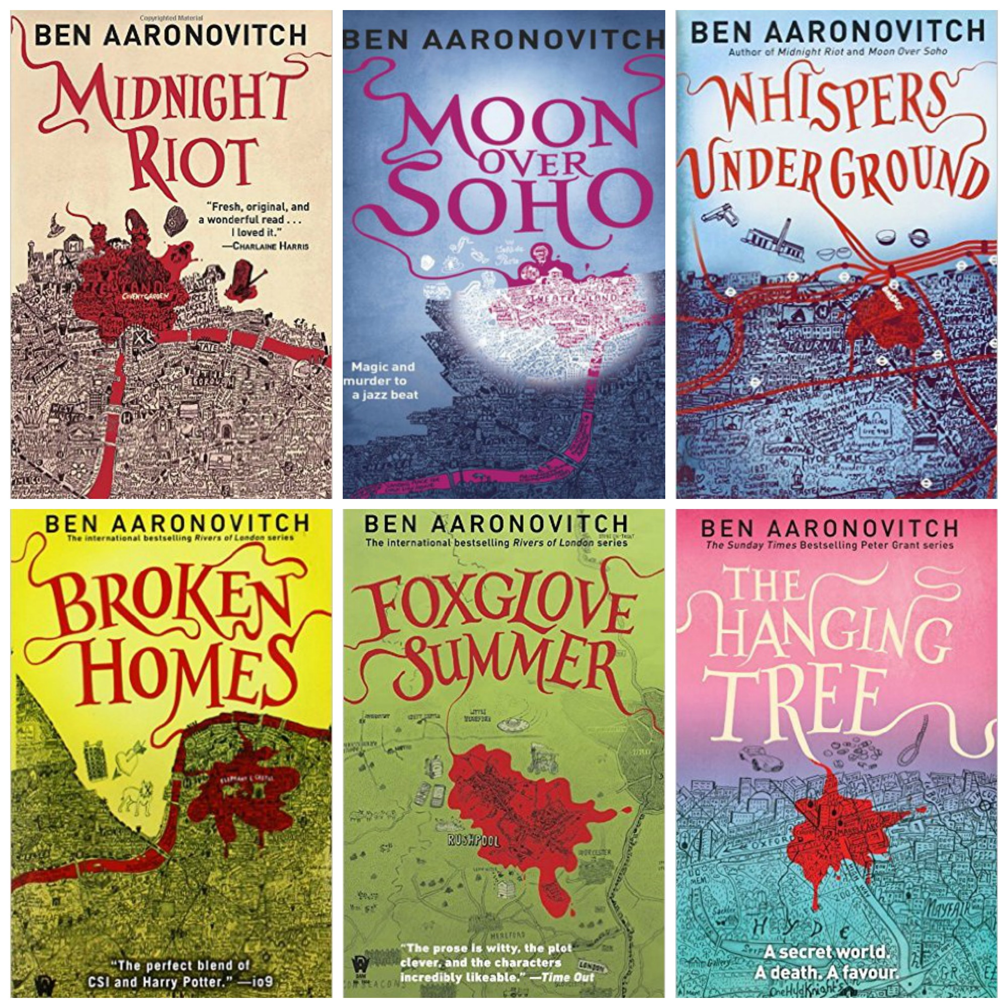 Peter Grant by Ben Aaronovitch series covers