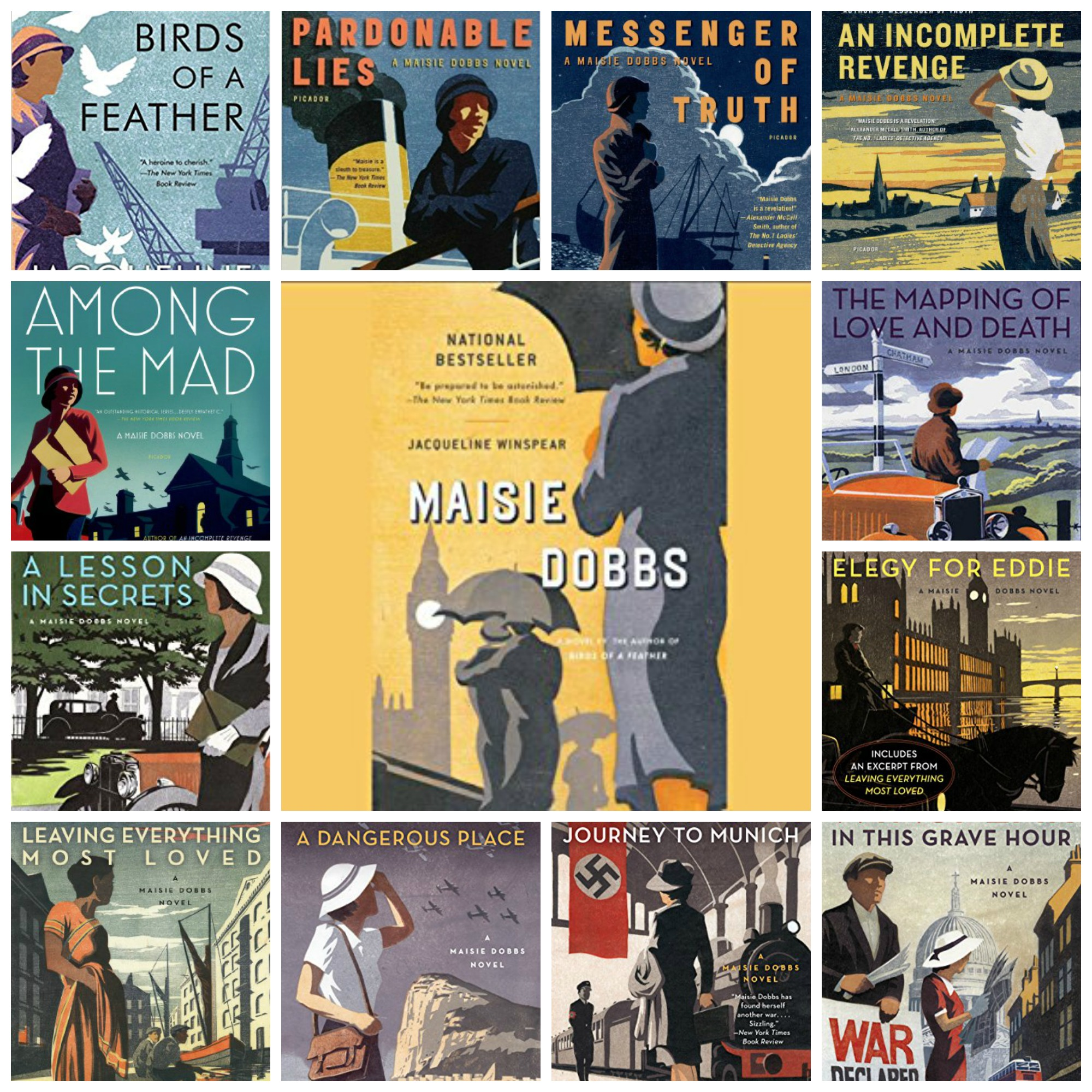 covers for Maisie Dobbs series by Jacqueline Winspear